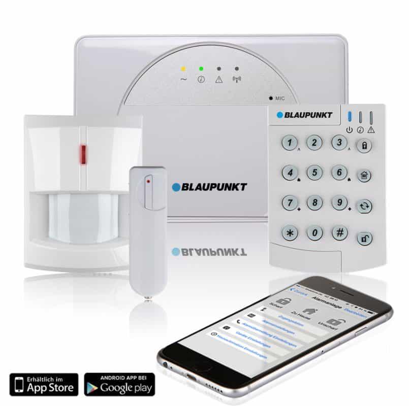 Fernbedienung Blaupunkt Funk-Alarmanlage SA 2700 I Mit GSM-Modul I Sicherheitssystem mit Bewegungsmelder App I Alarmierung /über das Mobilfunknetz I Wei/ß T/ür//Fenstersensor
